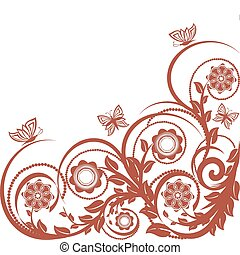 blommig, butterflies., vektor, bakgrund, illustration