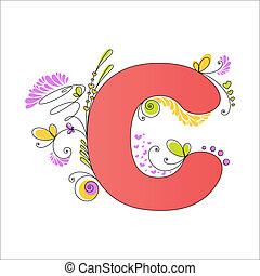 blommig, c, alphabet., färgrik, brev