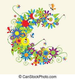 blommig, c, brev, design.