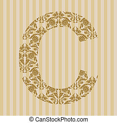 blommig,  C, dopfunt, brev