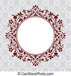 blommig, cirkel, vektor, ram