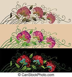 blommig, dekorativ, prydnad