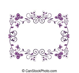 blommig, dekorativt gränsa, violett