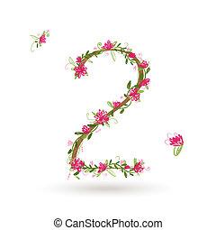 blommig, din, design, numrera två