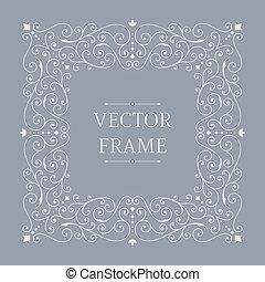 blommig, elegant, lyxvara, frame.