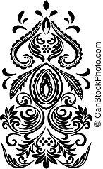 blommig, emblem, rulla, klassisk
