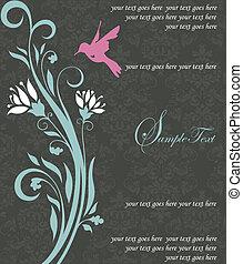 blommig, fågel, kort, inbjudan