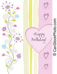 blommig, födelsedag, hälsningskort, lycklig