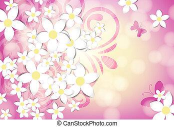 blommig, fjäder, kort