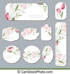 blommig, fjäder, mallar, med, söt, tulips., för, romantisk,...