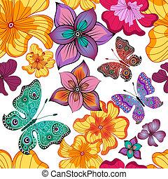 blommig, fjäder, repeterande, mönster