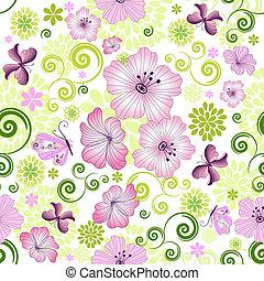 blommig, fjäder, repeterande, vit, mönster