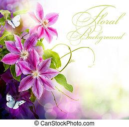 blommig, fjäder, sammandrag formge, bakgrund