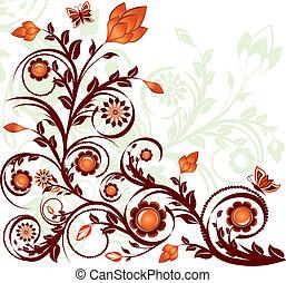 blommig, fjärilar, vektor, prydnad, illustration