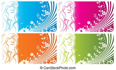 blommig, flicka, -, abstrakt, fjäder, kvinna
