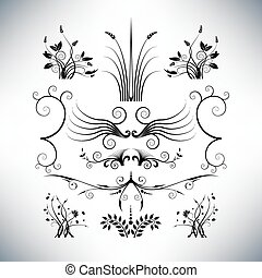 blommig, formen, elegant