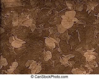 blommig, gammal, format, bakgrund