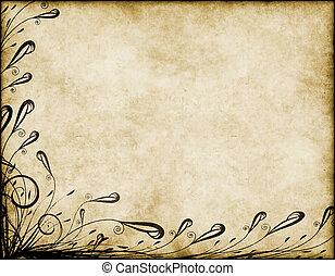 blommig, gammal, pergament