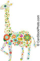 blommig, giraff