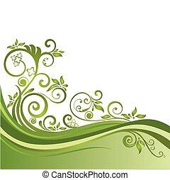 blommig, grön, baner, isolerat