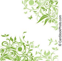 blommig, grön fond
