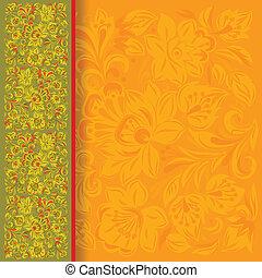 blommig, gröna abstrakta, prydnad, bakgrund