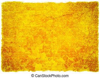 blommig, grunge, gul fond, strukturerad