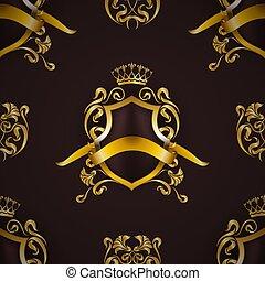 blommig, gyllene, elementara, kunglig, skydda