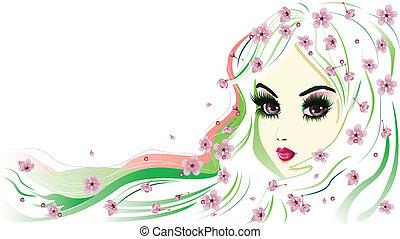 blommig, hår, flicka, vit
