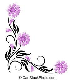 blommig, hörna, prydnad
