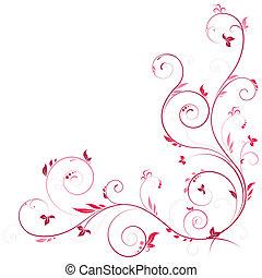 blommig, hörna, rosa, färg