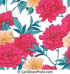 blommig, hand, oavgjord, seamless, mönster, med, flowers.