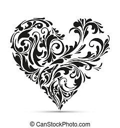 blommig, heart., abstrakt föreställning, kärlek