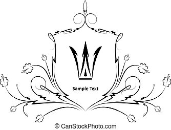 blommig, heraldisk, crown., design, skydda