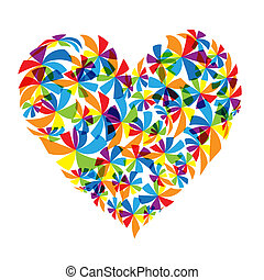 blommig, hjärta gestalta, design