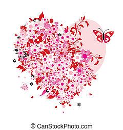 blommig, hjärta gestalta