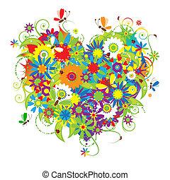 blommig, hjärta gestalta, kärlek