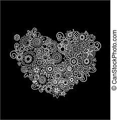 blommig, hjärta gestalta, mehndi