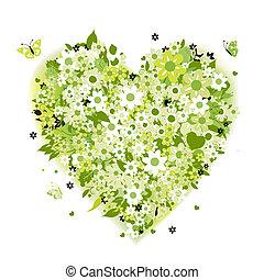 blommig, hjärta gestalta, sommar, grön