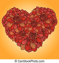 blommig, hjärta, gjord, med, blomningen, av, dahlia