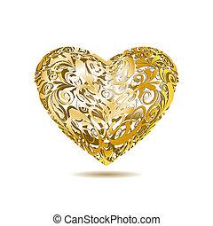 blommig, hjärta, guld, openwork