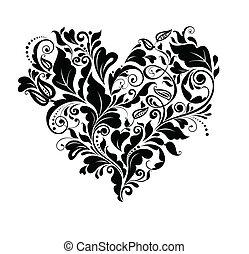 blommig, hjärta, svart