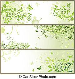 blommig, horisontal, grön, baner