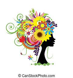 blommig, huvud, kvinna, frisyr