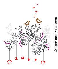 blommig, kärlek, prydnad, fåglar