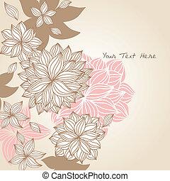blommig, klotter, fond färga