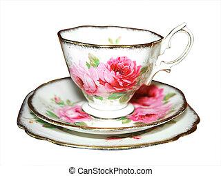 blommig, kopp, tefat, och, tallrik