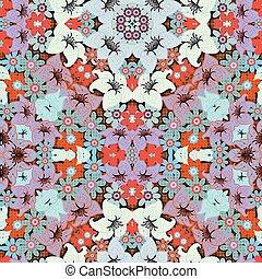 blommig, mönster,  seamless