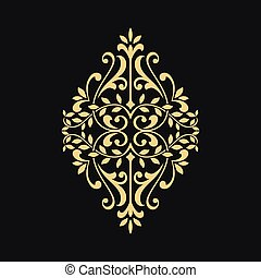 blommig, ornamental, element, design.