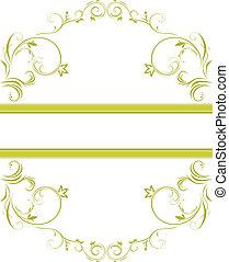 blommig, ornamental, ram, grön